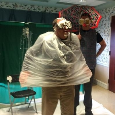 Assemblyman Steve Hawley (R,C,I-Batavia) poses after getting pied several times at a fundraiser at the Genesee County Nursing Home Friday.