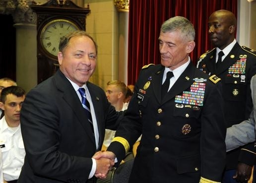 Assemblyman Steve Hawley (R,C,I-Batavia) greets Lt. Gen. Robert L. Caslen, Jr. at West Point Day in Albany.