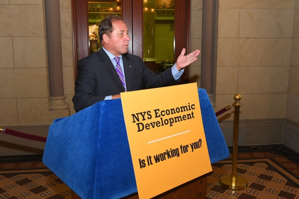 Assemblyman Steve Hawley (R,C,I-Batavia) joined Minority colleagues at a press conference in Albany Monday calling for more transparency in economic development spending
