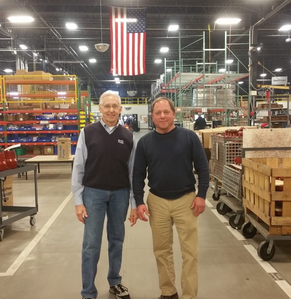 Assemblyman Steve Hawley (R,C,I-Batavia)[right] poses for a photo with Liberty Pumps President and CEO Charlie Cook.