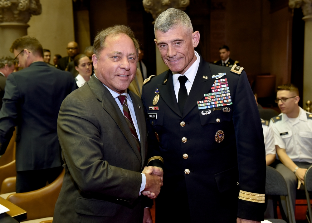 Assemblyman Steve Hawley (R,C,I-Batavia) pictured with Lt. General Robert Caslen, Superintendent of West Point, during West Point Day in Albany Wednesday.<br />