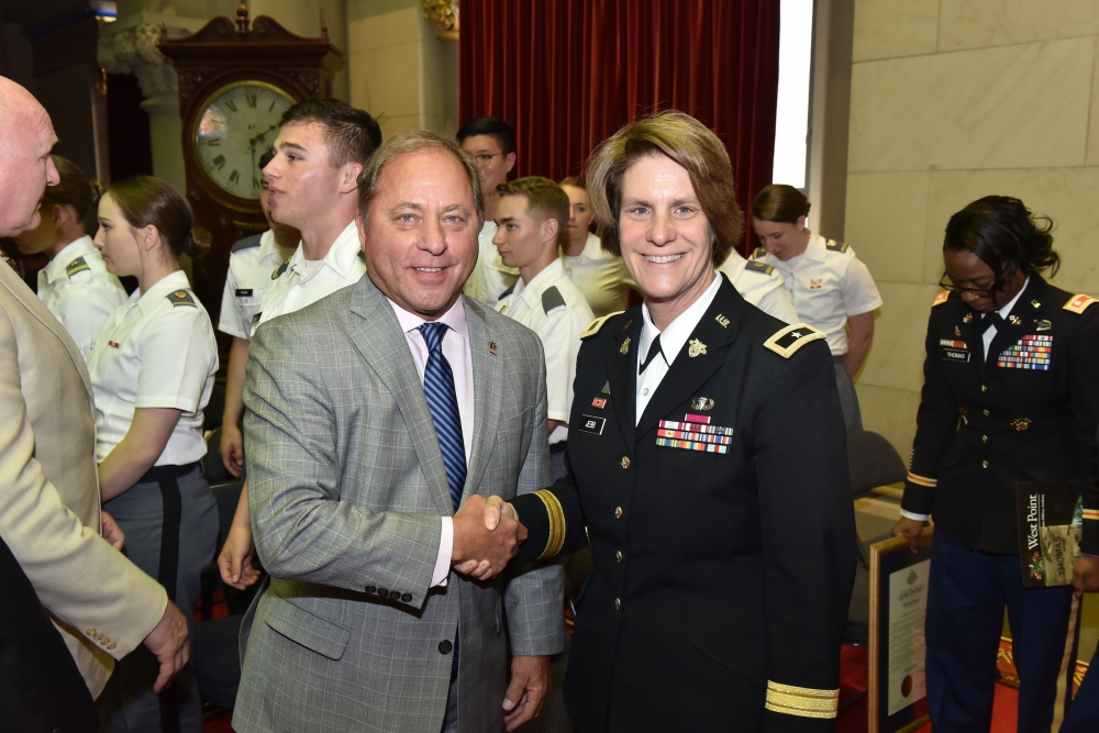 Assemblyman Steve Hawley (R,C,I-Batavia) shakes hands with Brigadier General Cindy Jebb, 14th Dean of the Academic Board of the United States Military Academy at West Point