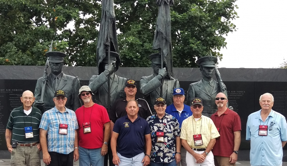 Assemblyman Steve Hawley (R,C,I-Batavia)[center] poses with veterans of the U.S. Air Force at a memorial honoring Air Force veterans during last year's Patriot Trip to Washington D.C.