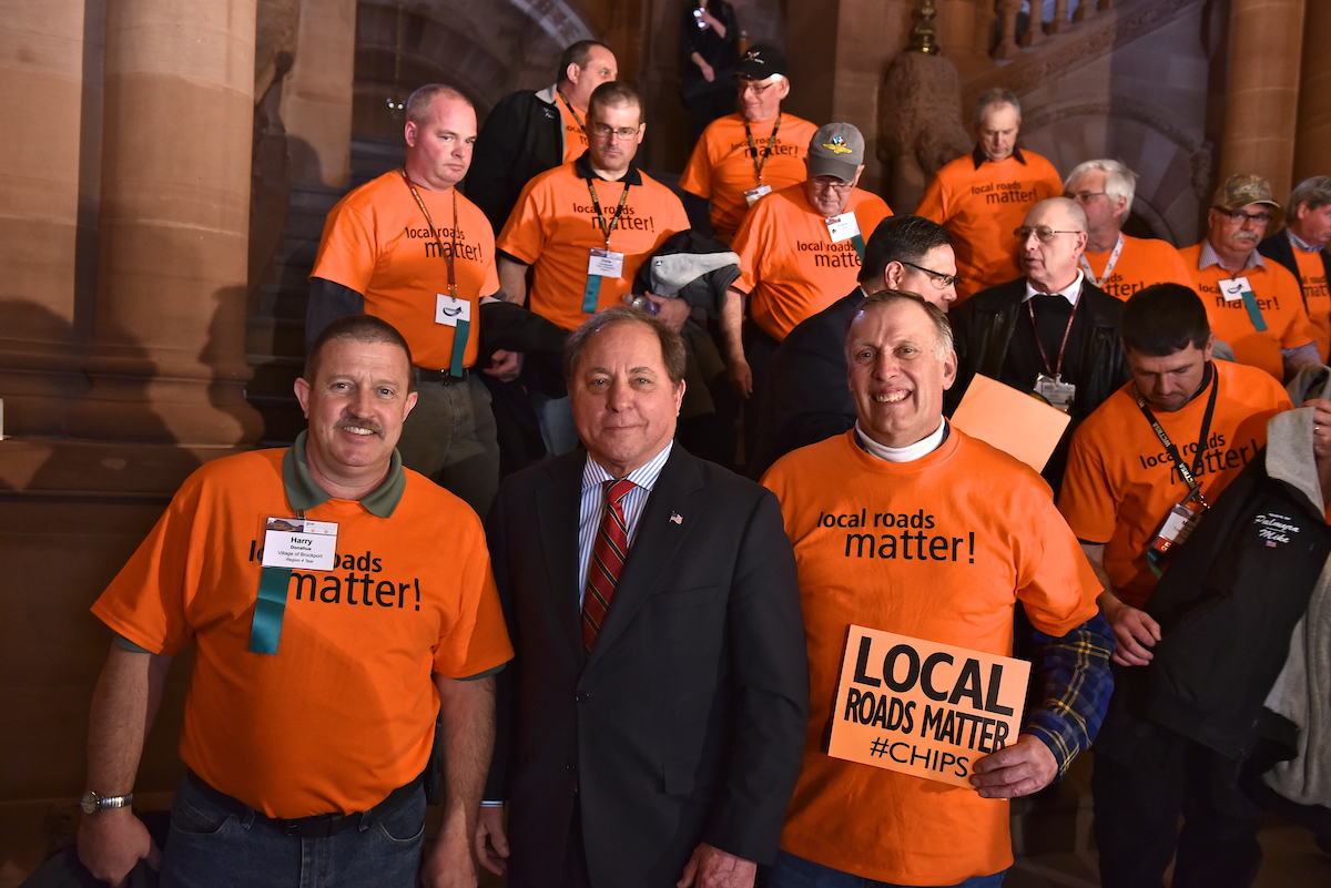 Assemblyman Steve Hawley (R,C,I-Batavia) [center] joins highway superintendents from across the state to rally for increased infrastructure funding
