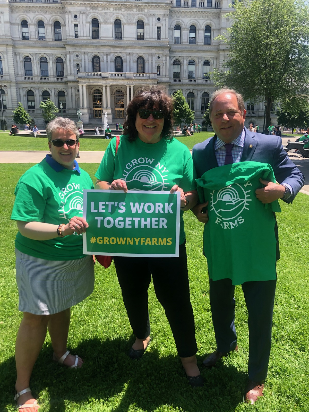Assemblyman Steve Hawley (R,C,I-Batavia) [far right] meets with Maureen Torrey and Shelley Stein from Grow-NY at Wednesday's New York Farm Bureau Rally in Albany.