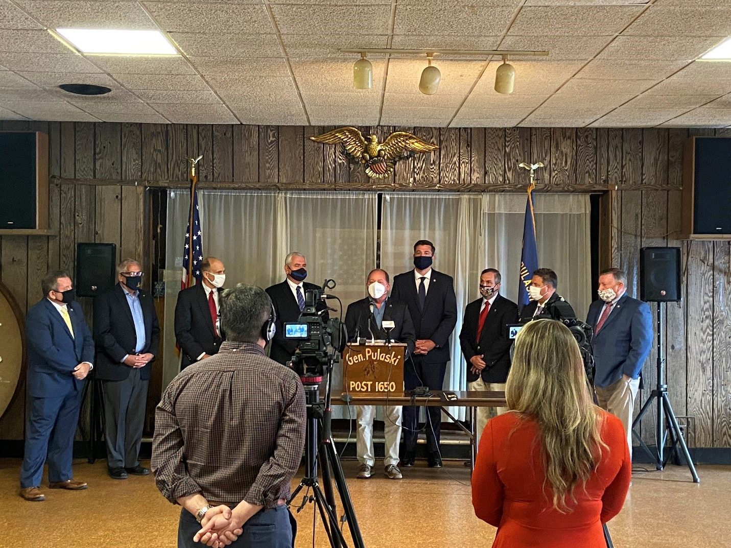 Assemblyman Steve Hawley (R,C,I-Batavia) (center) joins veterans and his Assembly Minority Colleagues who have also served in the military to urge for a focus on passing legislation to help veterans.