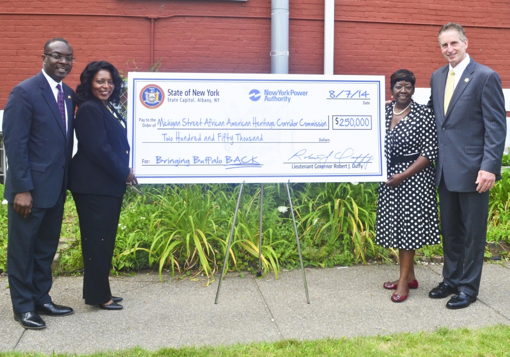 August 7, 2014 – Assemblywoman Crystal Peoples-Stokes at check presentation, highlighting $250,000 in funding to the Michigan Street African American Heritage Corridor Commission.