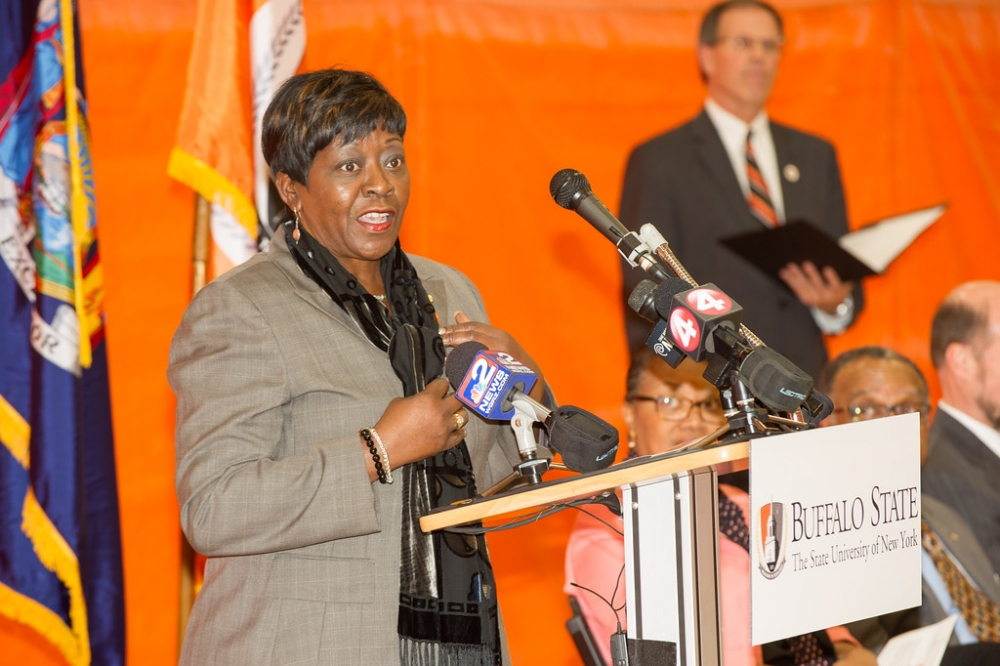 October 17th 2014 – Assemblywoman Crystal Peoples-Stokes attended the ribbon cutting at the renovated Houston Gymnasium at Buffalo State College.