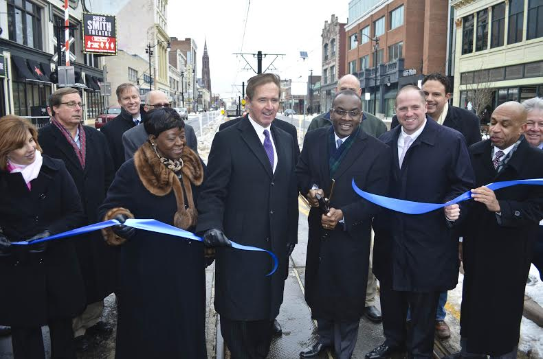 Assemblywoman Crystal Peoples-Stokes at the historic return of vehicles to Main Street's 600 Block in the heart of the Queen City.