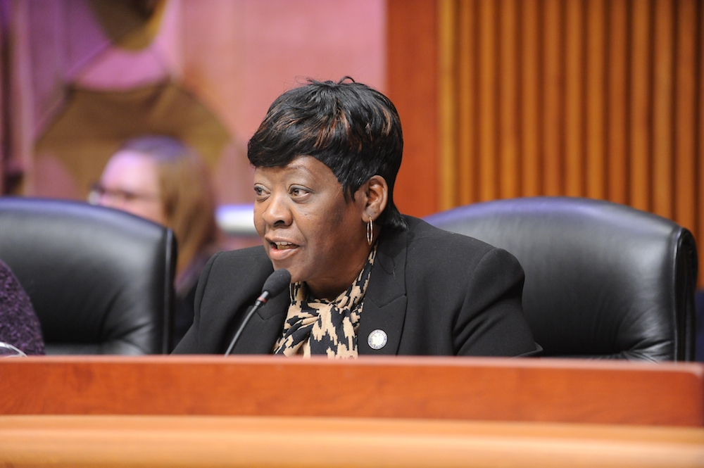 February 26, 2015 – Assemblywoman Peoples-Stokes who currently Chairs the Assembly Committee on Governmental Operations, during the Public Protection Budget Hearing in Albany.