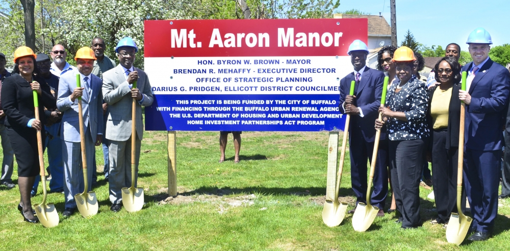 May 14, 2015 – Assemblywoman Peoples-Stokes at the groundbreaking for the Mt. Aaron Manor. The project is a two story, 10 unit apartment building located in the City of Buffalo providing quality affordable housing for seniors.
