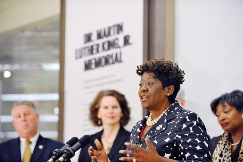 Assemblywoman Peoples-Stokes speaks during the rededication of the Dr. Martin Luther King Jr. memorial in Albany, NY.