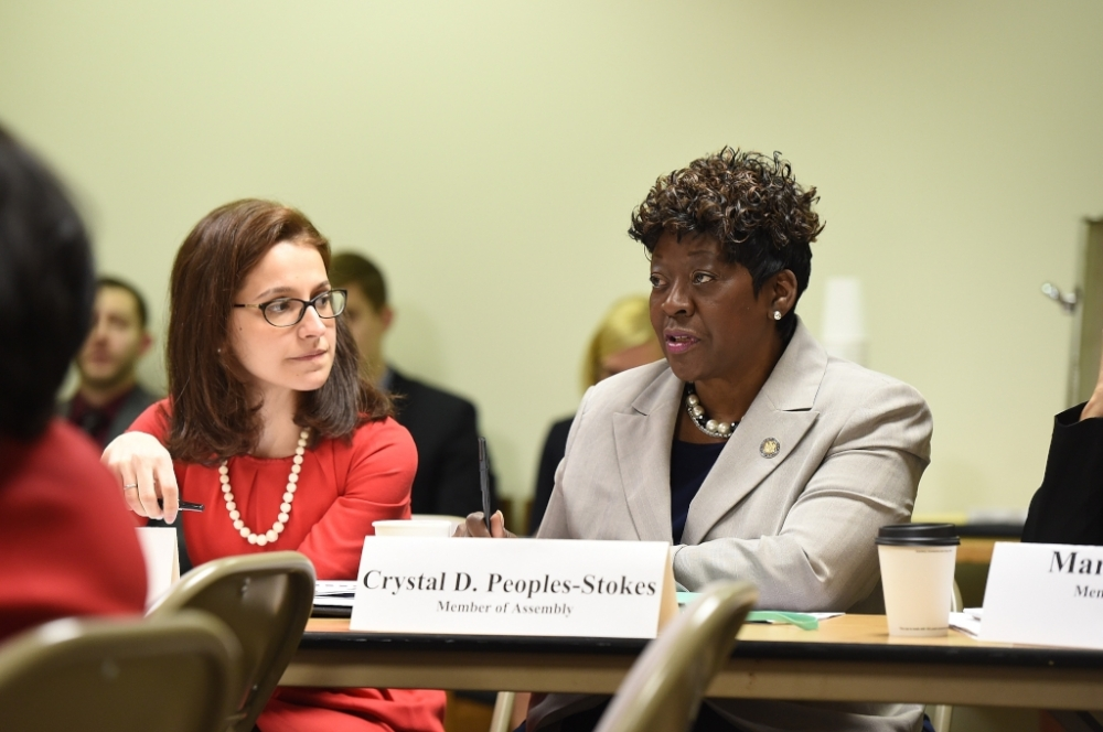 April 27, 2015 – Assemblywoman Peoples-Stokes speaks during a roundtable discussing labor and pay equity related issues in Albany.