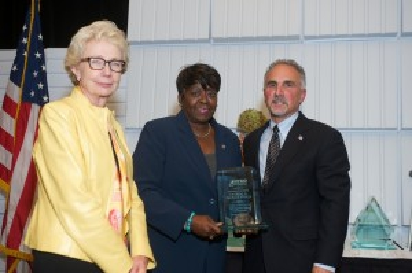 October 19, 2015 – Assemblywoman Peoples-Stokes NYS NYSID 2015 Preferred Source Champion Award co-recipient, Francoise Dunefsky, NYSID board chair and Ron Romano, NYSID president & CEO.