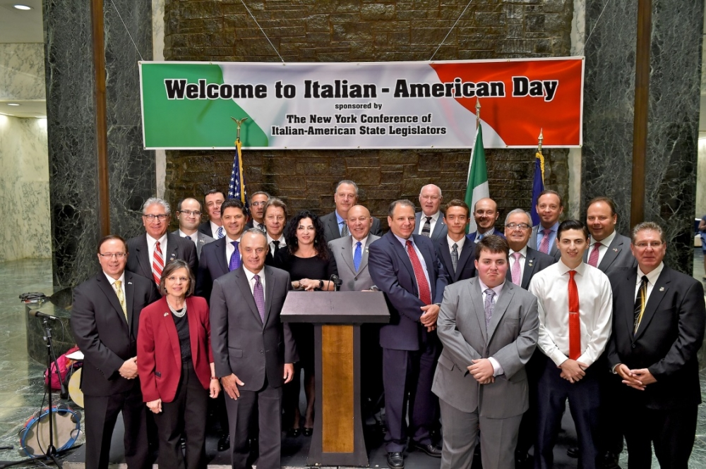 Assemblyman Angelo J. Morinello (R,C,I,Ref-Niagara Falls) joined his colleagues in the New York State Conference of Italian-American State Legislators in welcoming the recipients of the conference&#03