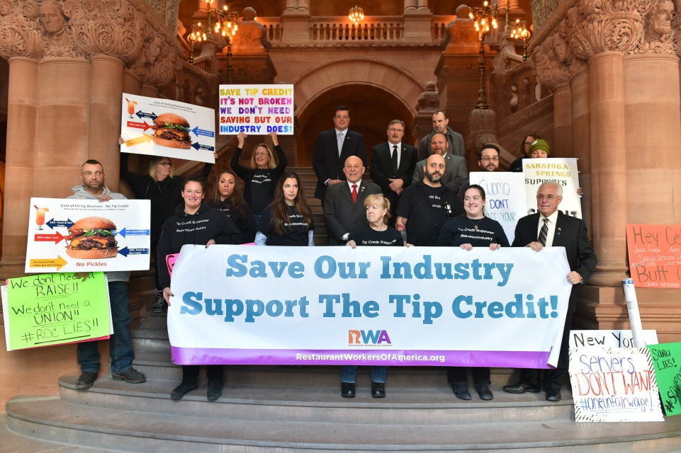 Assemblyman Angelo J. Morinello with fellow legislators and tipped workers.