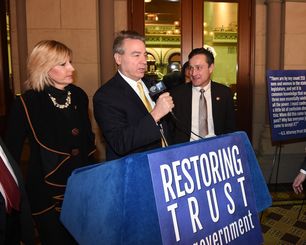 Assemblyman David DiPietro (R,C-East Aurora) addresses the media at the Restoring Trust in Government press conference. DiPietro, along with his colleagues in the Assembly Minority Conference, sponsored 17 ethics reform resolutions in the chamber, and saw all 17 blocked by the Assembly Majority.
