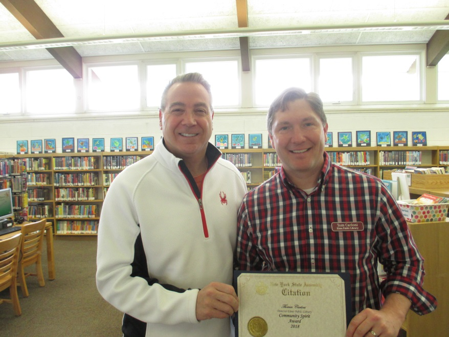 Pictured left to right: Assemblyman David DiPietro (R,C,I-East Aurora) and Elma Library Director Thomas Carloni