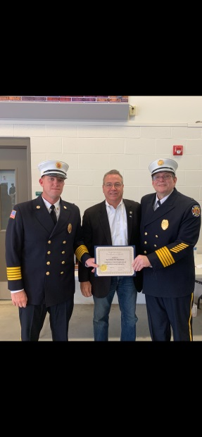 Assemblyman David DiPietro (R,C,I-East Aurora) at the 150th Anniversary of the East Aurora Fire Department with Chief Greg Egloff and Chief Roger Leblanc on Saturday, September 22.