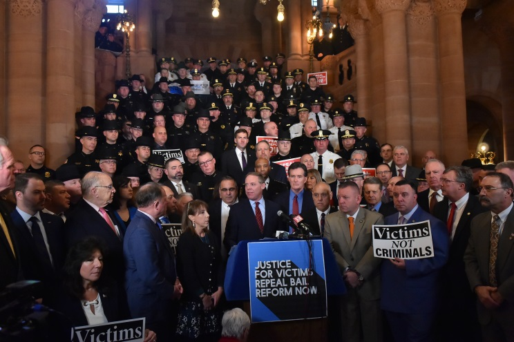 Assemblyman David DiPietro (R,C,I-East Aurora) at a rally to repeal Bail Reform on Tuesday, February 4 in Albany.