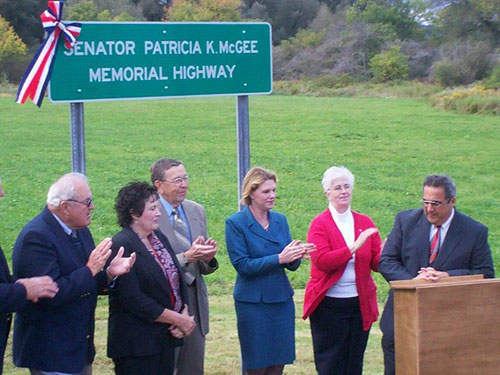 Assemblyman Giglio speaks at the Re-naming ceremony of NYS Route 16 in honor of the late Senator Patricia McGee.