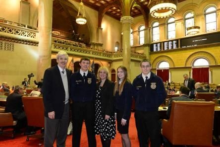 Assemblyman Andy Goodell is joined in the Assembly Chamber by Gabe Rater, Christine Burdick, Jessica Morton, and Brandon VanCuren.