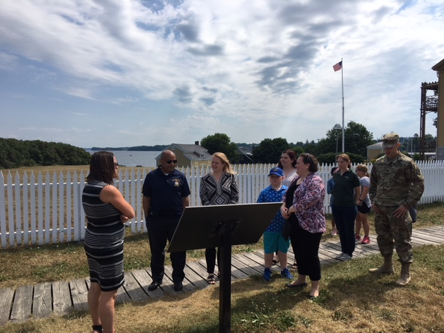 Pictured with Speaker Heastie in the second photo at Sackets Harbor Battlefield State Historic Site (from left to right): Sackets Harbor Schools Superintendent Jennifer Gaffney, Assemblymember Addie Jenne, Sackets Harbor Mayor Reilly and Captain Marquis