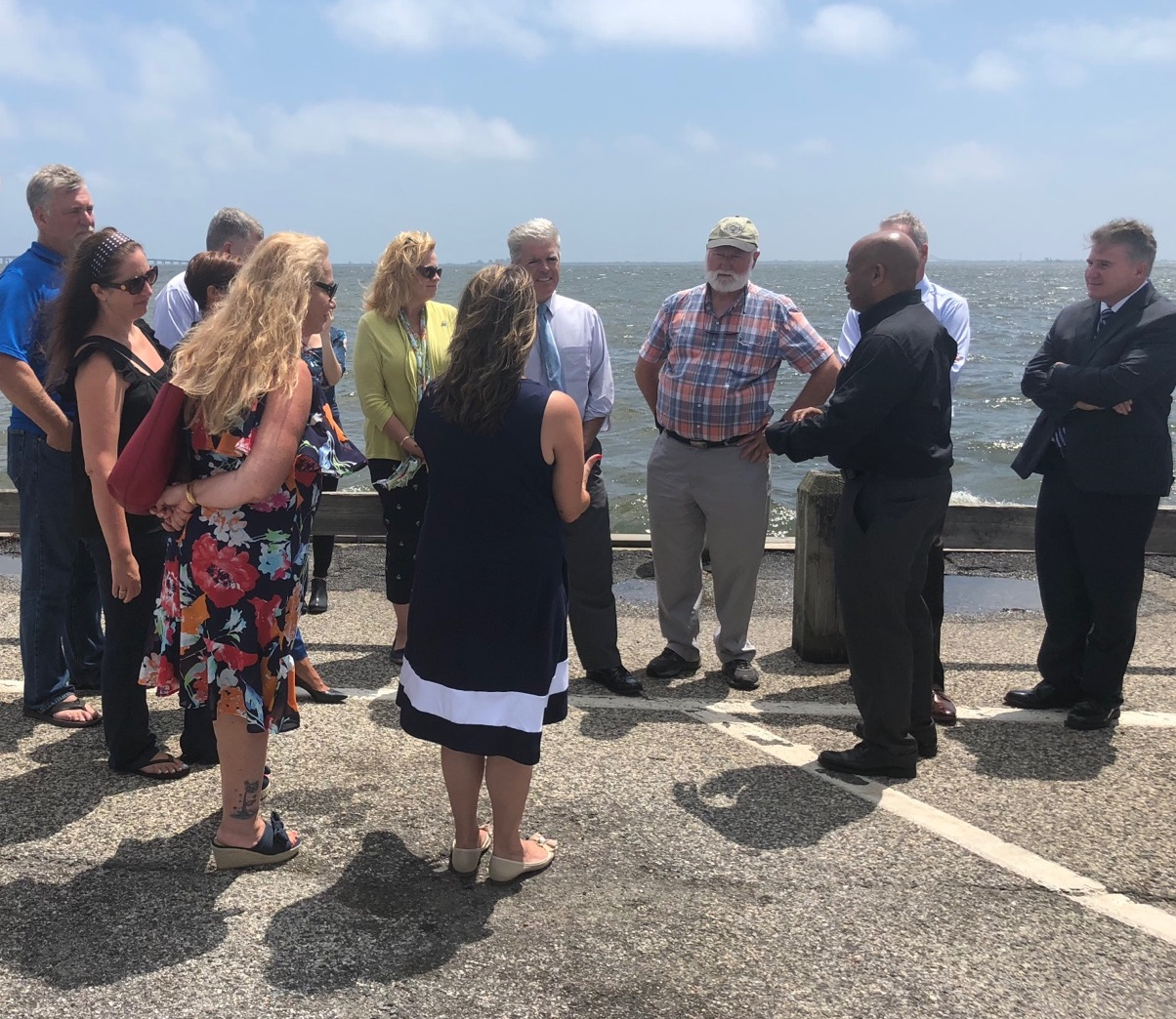 Pictured with Speaker Heastie in the second photo at the Babylon Village Main Docks (from left to right): marine scientists and members of local non-profits, Assemblymember Christine Pellegrino, Suffolk County Executive Steve Bellone and Dr. Malcolm Bowman.