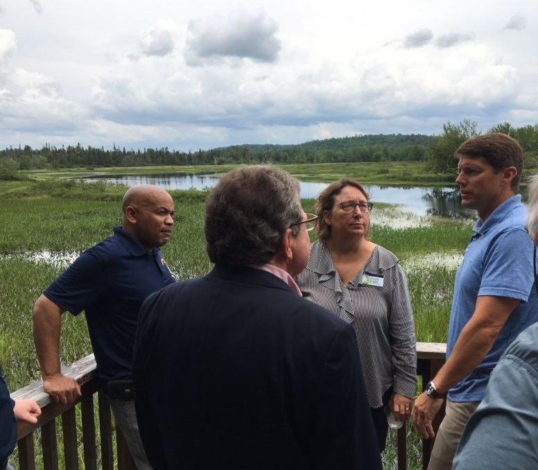 Pictured with Speaker Heastie in the second photo at the Wild Center (from left to right): Franklin County Legislator Paul Maroun, Wild Center Executive Director Stephanie Ratcliffe and Assemblymember Billy Jones.