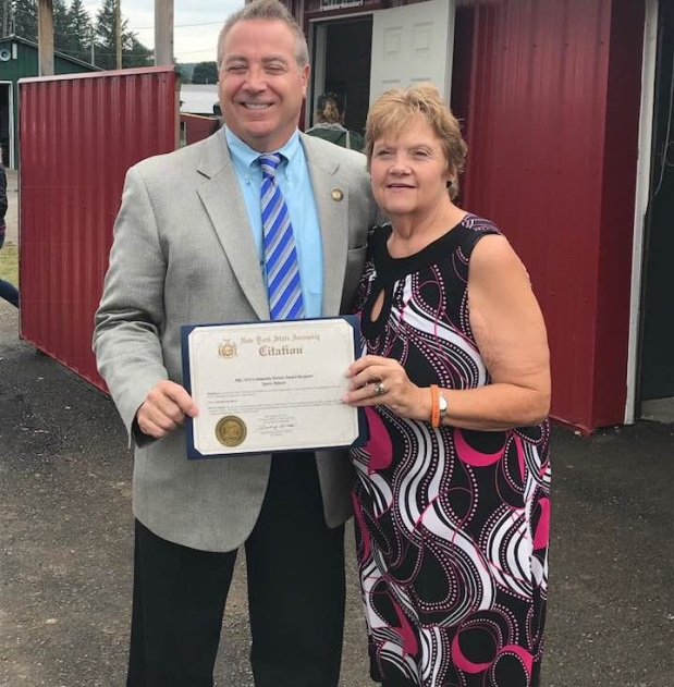 Pictured: Assemblyman David DiPietro (R,C,I-East Aurora) and Karen Almeter on Tuesday, August 14.<br />&nbsp;