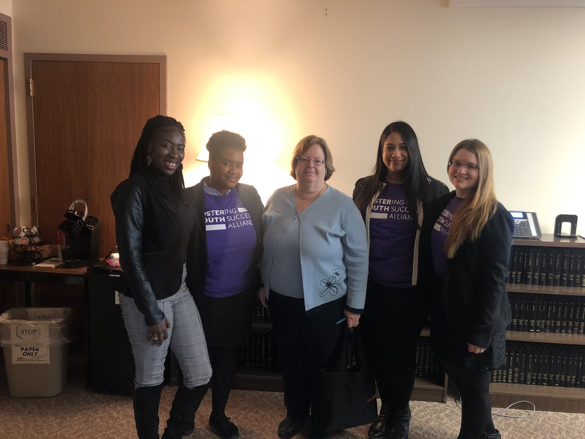 Assemblywoman Catherine Nolan with Fostering Youth Success Alliance Assistant Director Keyla Espinal and student advocate Melanie Thompson.