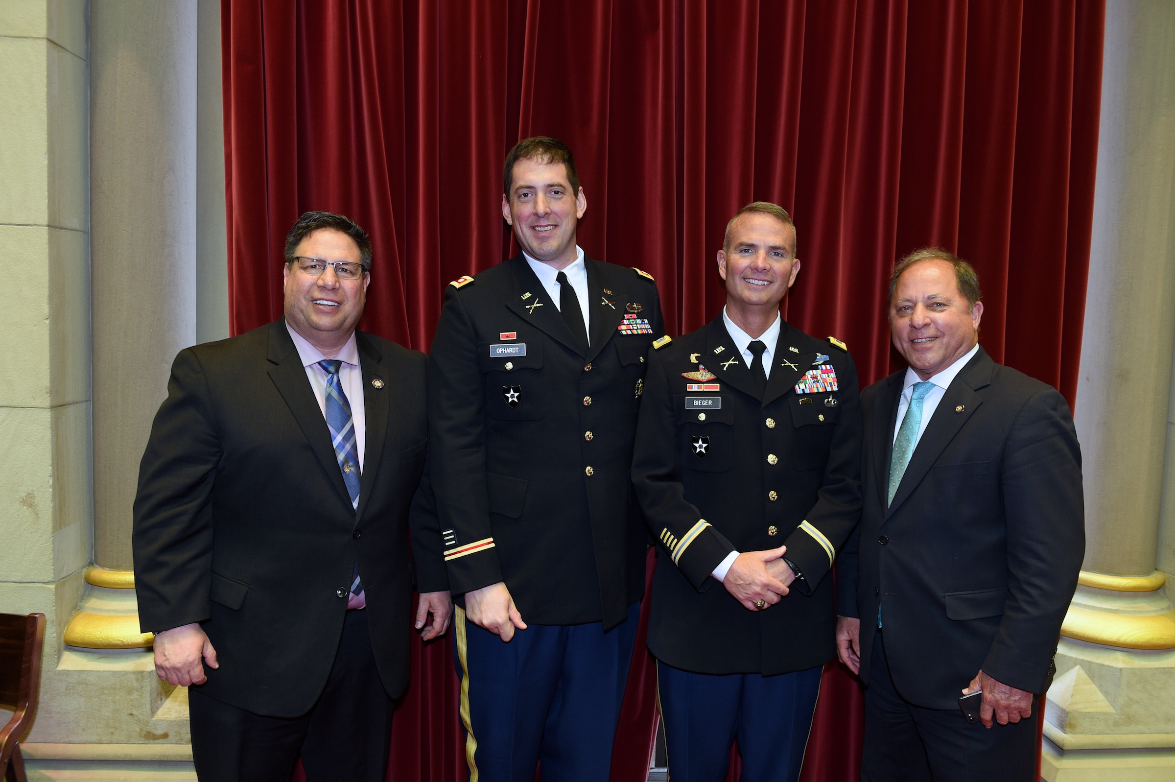 Assemblyman Steve Hawley (R,C,I-Batavia) [far right] poses with officers from West Point Academy in the Assembly Chamber on Wednesday, May 1.