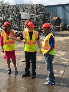 Pictured in the first picture with Speaker Heastie at Empire Recycling is (from left to right): Assemblymember Marianne Buttenschon and Empire Recycling Executive Vice President Ed Kowalsky.