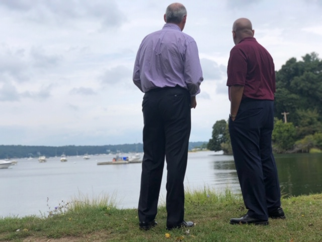 Pictured with Speaker Heastie in the second photo at the Cold Harbor Springs waterfront is Assemblymember Steve Stern.