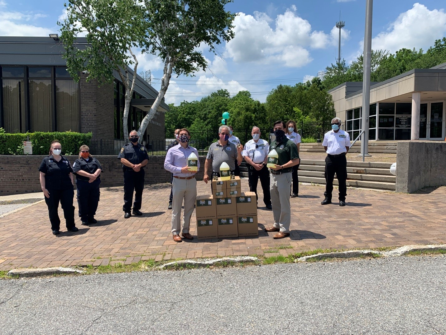 Assemblyman Kevin Byrne (R,C,Ref-Mahopac) was joined by Yorktown Supervisor Matt Slater and Yorktown Councilman Ed Lachterman in providing hand sanitizer to first responders in Yorktown on Friday, June 19, 2020.
