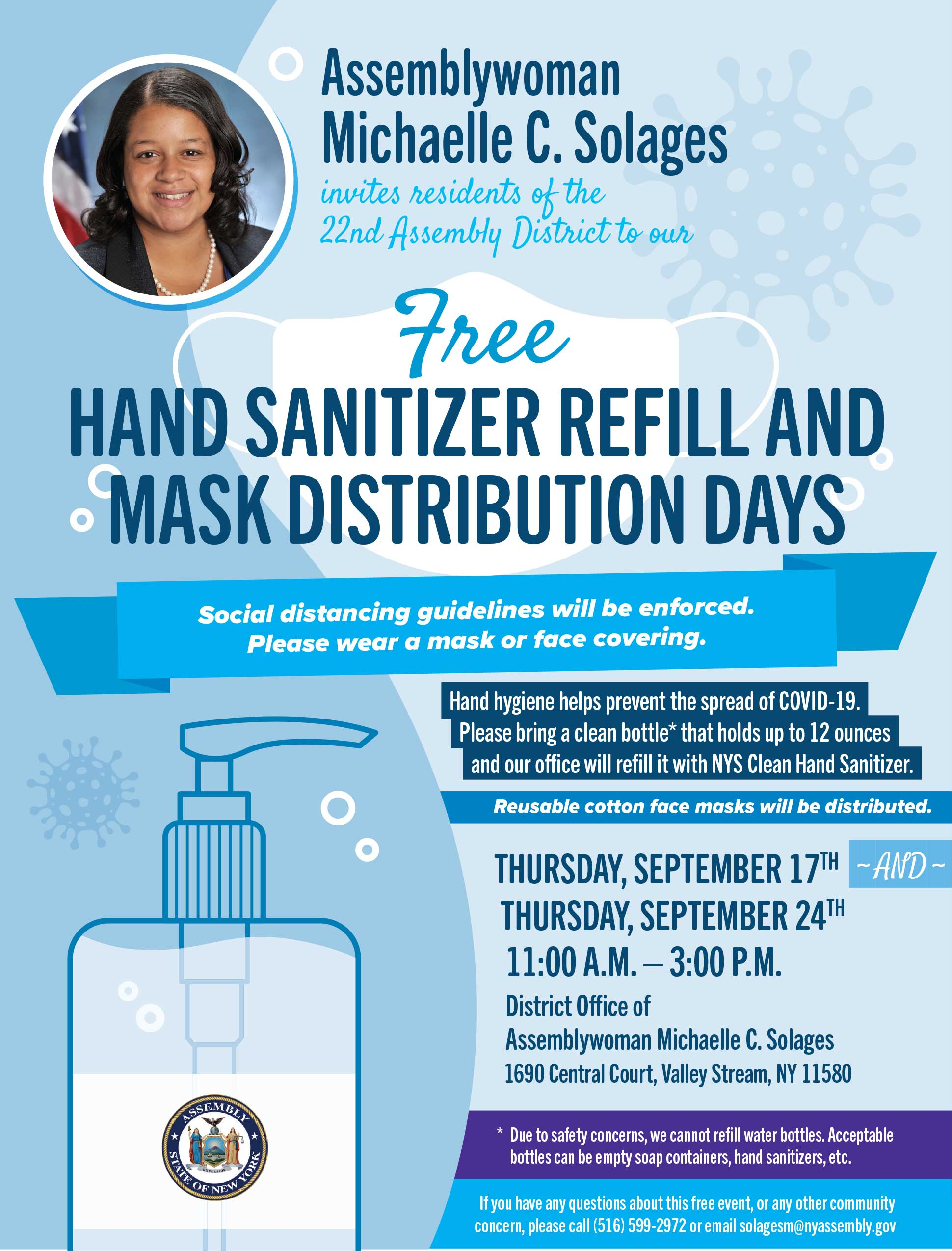 Hand Sanitizer Refill And Mask Distribution Days