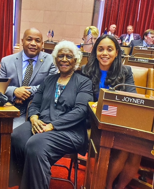 Pictured in the photo with Speaker Heastie is (from left to right) former Assemblymember Aurelia Greene and Assemblymember Latoya Joyner.